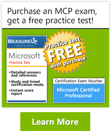 Purchase and MCP exam, get a free practice test